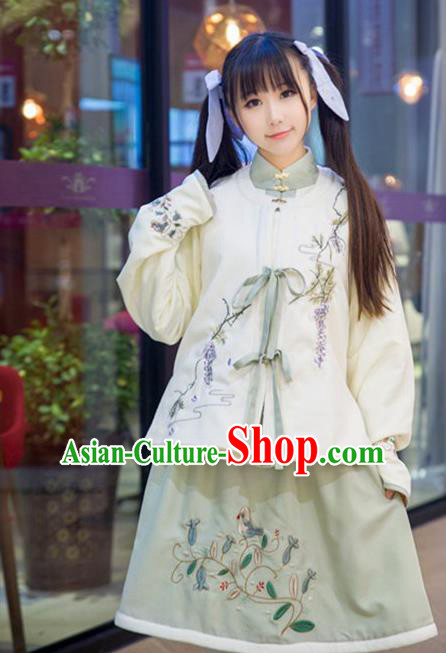 Traditional Ancient Chinese Female Costume Improved Blouse Vest and Skirt Complete Set, Elegant Hanfu Clothing Chinese Ming Dynasty Palace Princess Embroidered Clothing for Women