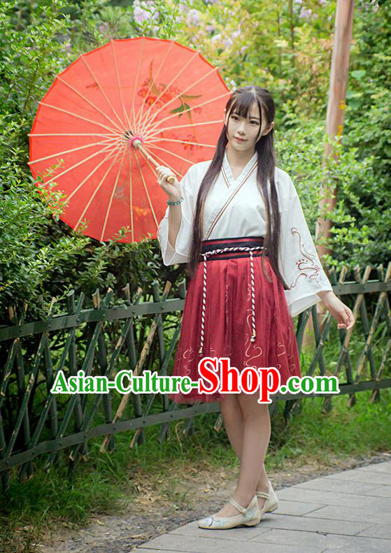 Traditional Ancient Chinese Female Costume Improved Blouse and Skirt Complete Set, Elegant Hanfu Clothing Chinese Ming Dynasty Palace Princess Clothing for Women