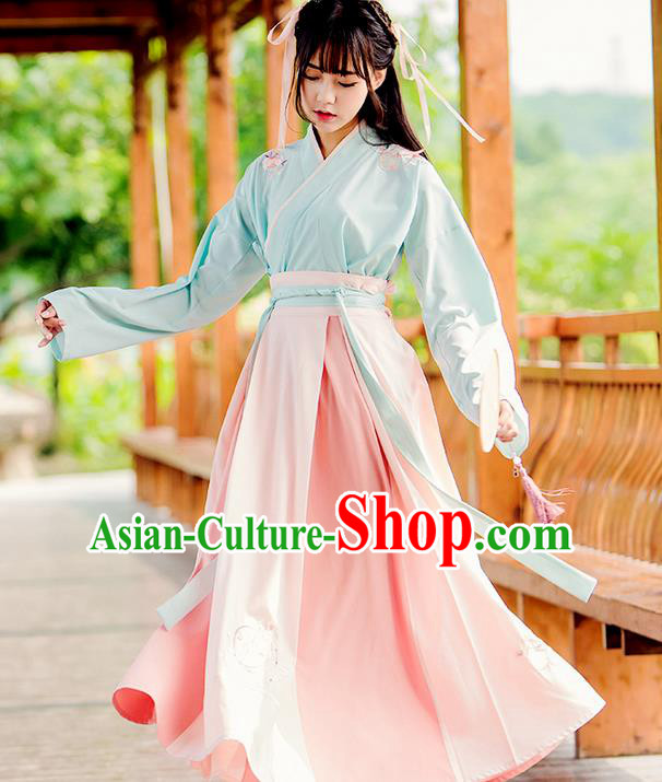 Traditional Ancient Chinese Female Costume Pink Blouse and Skirt Complete Set, Elegant Hanfu Clothing Chinese Song Dynasty Palace Princess Embroidered Clothing for Women