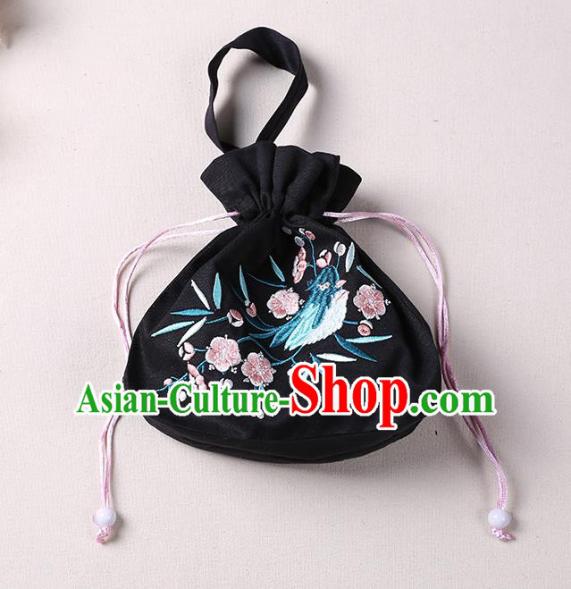 Traditional Ancient Chinese Embroidered Handbags Hanfu Embroidered Bird Flowers Round Black Bag for Women
