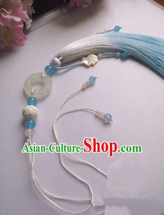 Traditional Chinese Handmade Ancient Hanfu Jade Wearing Agate Pendant Sword Tassel for Men