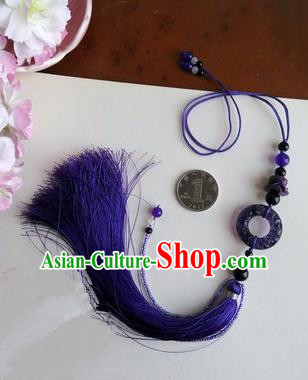 Traditional Chinese Handmade Ancient Hanfu Jade Wearing Violet Agate Pendant Sword Tassel for Men