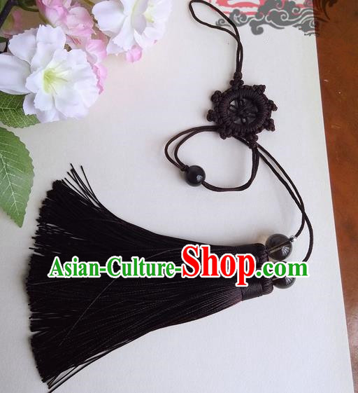 Traditional Chinese Handmade Ancient Hanfu Jade Wearing Black Agate Chinese Knot Pendant Sword Tassel for Men