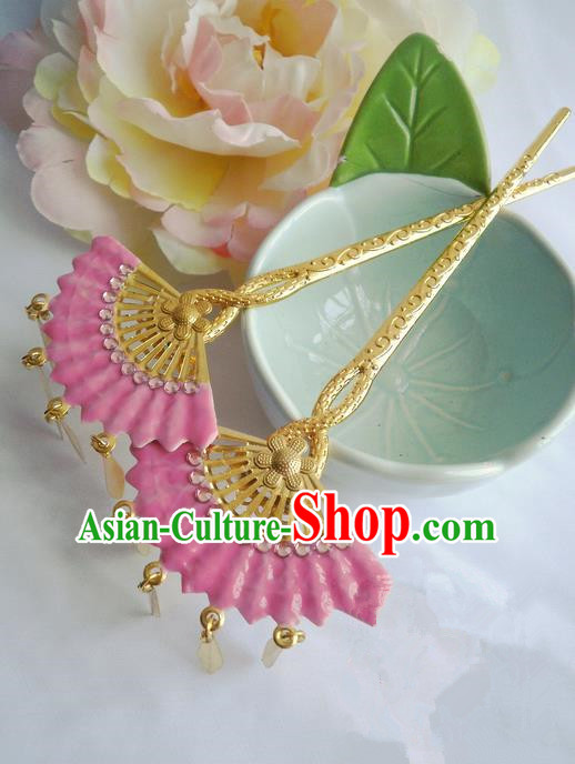 Traditional Handmade Chinese Ancient Classical Hair Accessories Barrettes Hairpin, Pink Crystal Shell Hair Sticks Hair Jewellery, Hair Fascinators Hairpins for Women