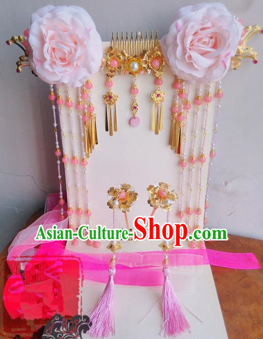 Traditional Handmade Chinese Ancient Classical Pink Flowers Hair Accessories Complete Set, Hair Sticks Tassel Hair Jewellery, Hair Fascinators Hairpins for Women
