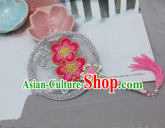 Traditional Chinese Handmade Ancient Hanfu Cosplay Round Embroidered Peach Blossom Fan Props for Women