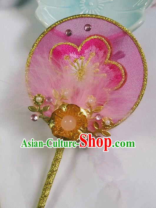 Traditional Chinese Handmade Ancient Hanfu Cosplay Round Embroidered Pink Peach Blossom Little Fan Props