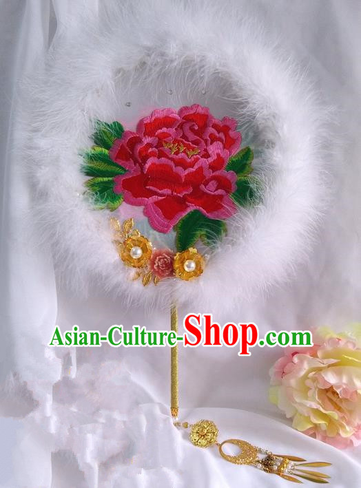 Traditional Chinese Handmade Ancient Hanfu Cosplay Round Embroidered Peony White Fan Props for Women