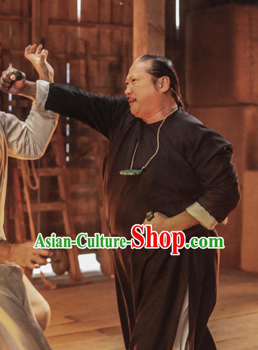 Ancient Chinese Black Kung Fu Long Robe Clothes for Men