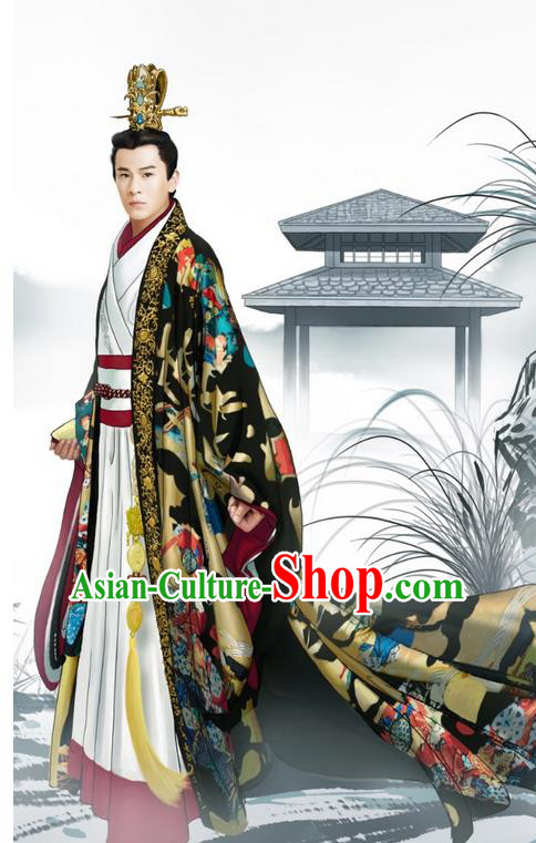 Traditional Ancient Chinese Imperial Emperor Costume and Hat Complete Set, Elegant Hanfu Palace King Robe, Chinese Han Dynasty Majesty Tailing Embroidered Dragon Clothing and Headwear for Men