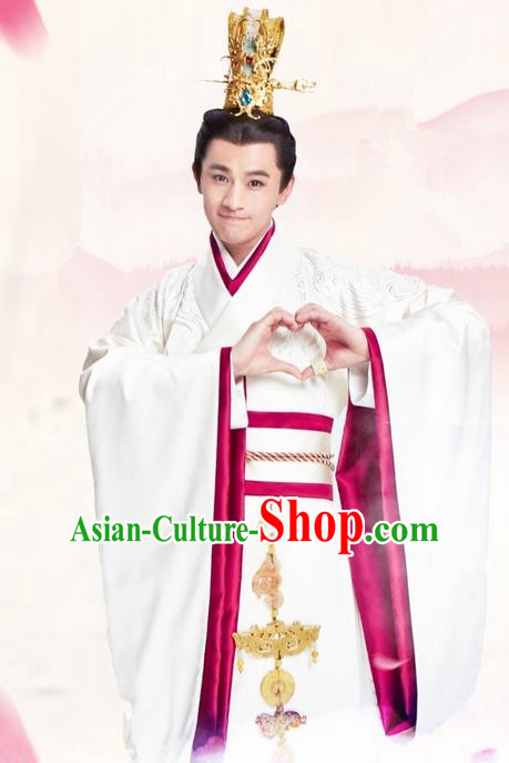 Traditional Ancient Chinese Imperial Emperor Costume and Hat Complete Set, Elegant Hanfu Palace Prince Robe, Chinese Han Dynasty Majesty Embroidered Dragon Clothing and Headwear for Men