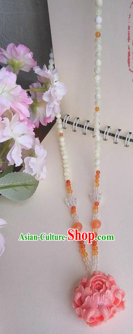 Traditional Handmade Chinese Ancient Princess Classical Accessories Jewellery Pink Coral Necklace for Women