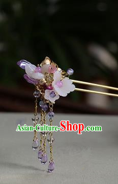 Traditional Handmade Chinese Ancient Princess Classical Hanfu Accessories Jewellery Pink Flowers Coloured Glaze Hair Sticks Hair Jewellery, Tassel Hair Fascinators Hairpins for Women