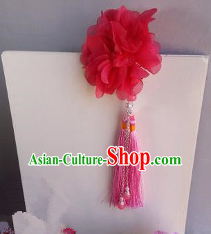 Traditional Handmade Chinese Ancient Classical Blue Flowers Hair Accessories, Flowers Hair Sticks Short Tassel Hair Claws, Hair Fascinators Hairpins for Women