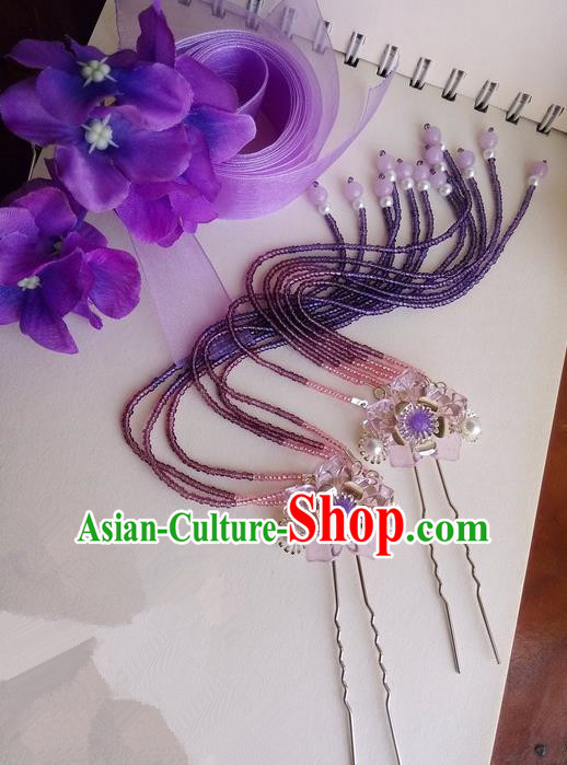 Traditional Handmade Chinese Ancient Classical Blue Flowers Hair Accessories, Flowers Hair Sticks Long Tassel Hair Claws, Hair Fascinators Hairpins for Women
