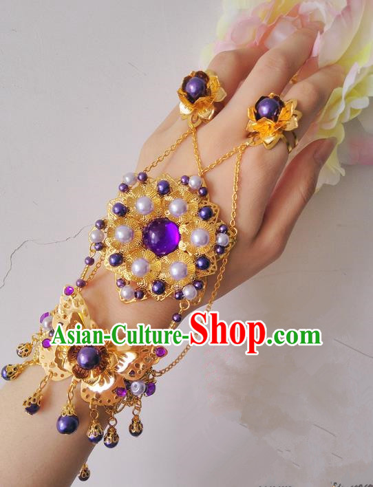 Traditional Handmade Chinese Ancient Princess Classical Accessories Jewellery Bracelets Chain Bracelet and Ring for Women