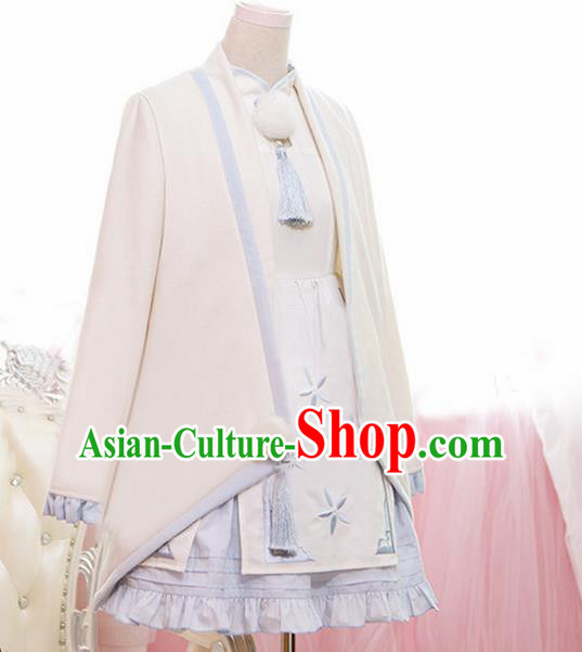 Traditional Ancient Chinese Imperial Consort Improved Costume Woolen Coat and Dress, Elegant Hanfu Clothing Chinese Tang Dynasty Imperial Empress Cosplay Fairy Embroidered Dress for Women