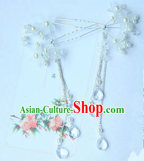 Traditional Handmade Chinese Ancient Princess Classical Accessories Jewellery Pearl Flowers Hair Sticks Hair Claws, Hair Fascinators Hairpins for Women