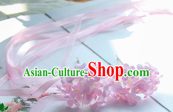 Traditional Handmade Chinese Ancient Princess Classical Accessories Jewellery Pearl Hair Sticks Long Ribbon Pink Hair Claws, Hair Fascinators Hairpins for Women