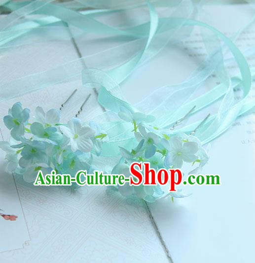 Traditional Handmade Chinese Ancient Princess Classical Accessories Jewellery Hair Sticks Long Ribbon Blue Hair Claws, Hair Fascinators Hairpins for Women