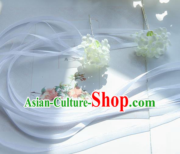 Traditional Handmade Chinese Ancient Princess Classical Accessories Jewellery Hair Sticks Long Ribbon White Hair Claws, Hair Fascinators Hairpins for Women