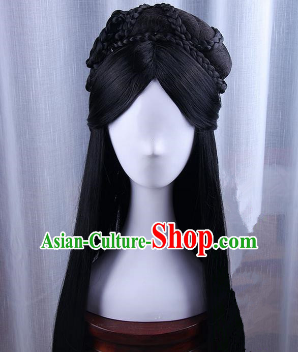 Traditional Handmade Ancient Chinese Tang Dynasty Princess Wig, Ancient Hanfu Chinese Empress Wig for Women