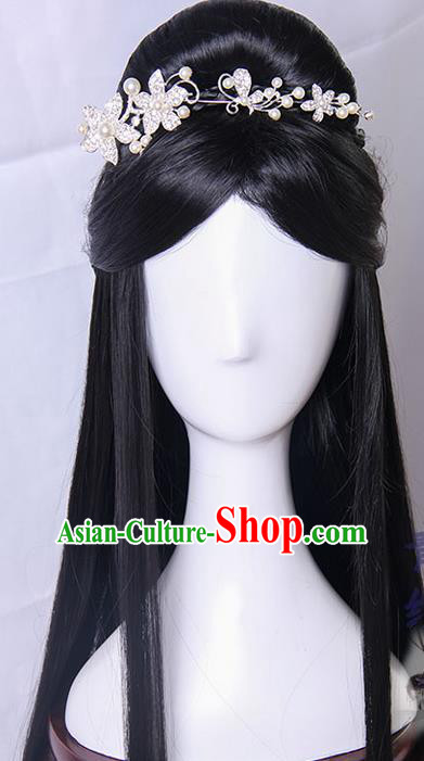 Traditional Handmade Ancient Chinese Tang Dynasty Princess Hair Decoration and Wig Complete Set, Ancient Chinese Palace Empress Headwear and Wig for Women