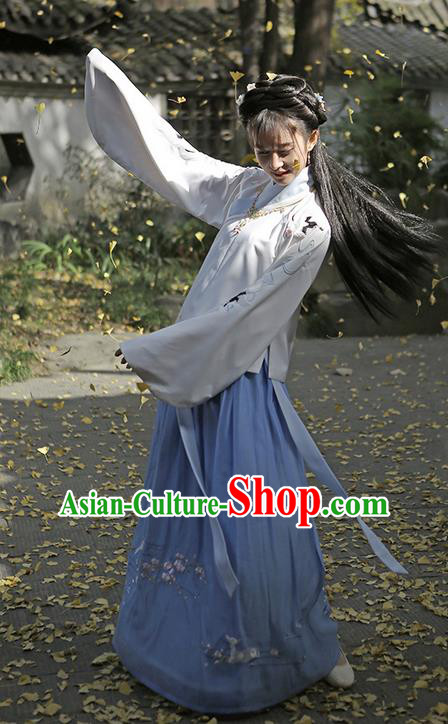 Traditional Ancient Chinese Female Costume Embroidered Crane Blouse and Dress Complete Set, Elegant Hanfu Clothing Chinese Ming Dynasty Embroidered Palace Princess Clothing for Women