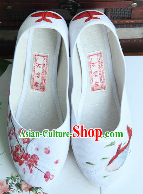 Traditional Handmade Ancient Chinese Han Dynasty Imperial Princess Freehand Sketching Chaenomeles Speciosa Shoes for Women