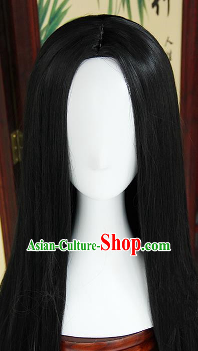 Traditional Handmade Ancient Chinese Tang Dynasty Imperial Princess Wig, Ancient Chinese Cosplay Fairy Palace Young Lady Straight Hair Wig for Women