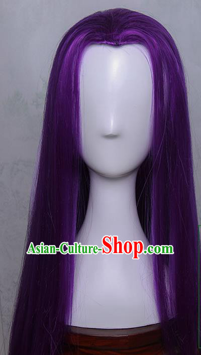 Traditional Handmade Ancient Chinese Tang Dynasty Imperial Princess Wig, Ancient Chinese Cosplay Fairy Palace Young Lady Straight Purple Hair Wig for Women