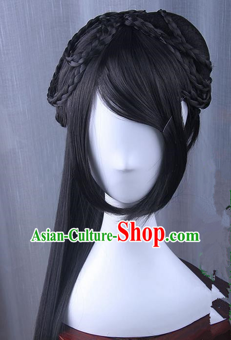 Traditional Handmade Ancient Chinese Han Dynasty Imperial Princess Wig, Ancient Chinese Hanfu Cosplay Fairy Wig for Women