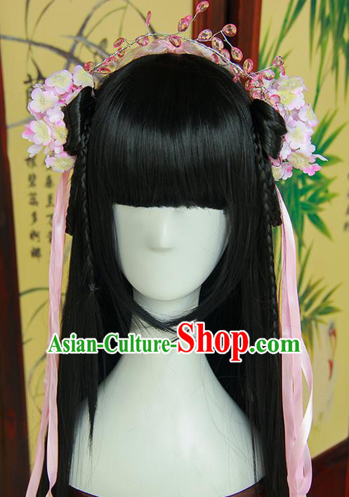 Traditional Handmade Ancient Chinese Tang Dynasty Imperial Empress Hair Decoration and Wig Complete Set, Ancient Chinese Cosplay Fairy Queen Hanfu Headwear and Wig for Women