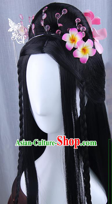 Traditional Handmade Ancient Chinese Tang Dynasty Imperial Empress Hair Decoration and Wig Complete Set, Ancient Chinese Cosplay Fairy Queen Flowers Hairpin and Wig for Women
