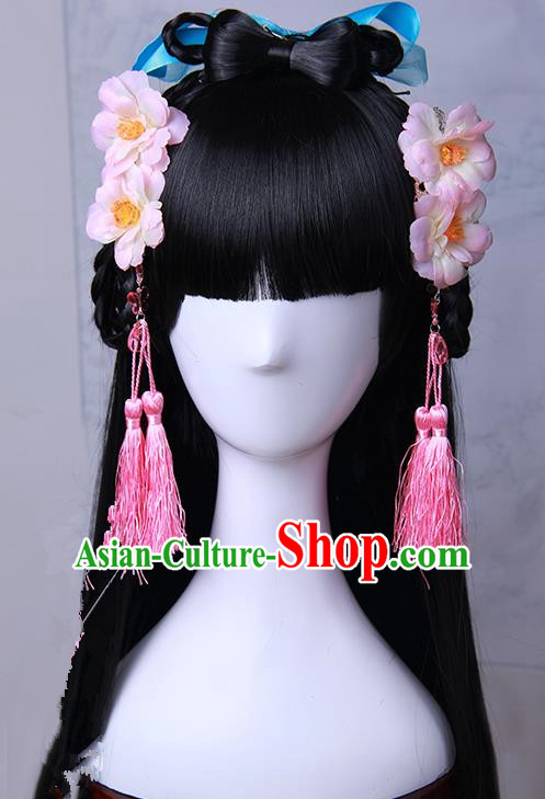 Traditional Handmade Ancient Chinese Han Dynasty Imperial Princess Pink Tassels Hair Decoration and Wig Complete Set, Ancient Chinese Hanfu Cosplay Fairy Young Lady Headwear and Wig for Women