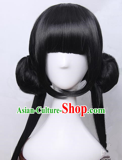 Traditional Handmade Ancient Chinese Han Dynasty Imperial Princess Wig, Ancient Chinese Hanfu Cosplay Fairy Young Lady Swordsman Wig for Women