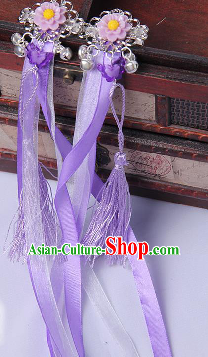 Traditional Handmade Chinese Ancient Princess Classical Hanfu Accessories Jewellery Purple Long Ribbons Bells Hair Sticks Hair Claws, Tassel Hair Fascinators Hairpins for Women