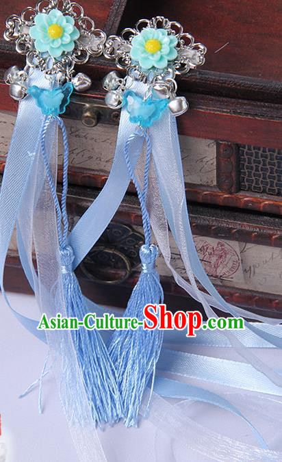 Traditional Handmade Chinese Ancient Princess Classical Hanfu Accessories Jewellery Blue Long Ribbons Bells Hair Sticks Hair Claws, Tassel Hair Fascinators Hairpins for Women