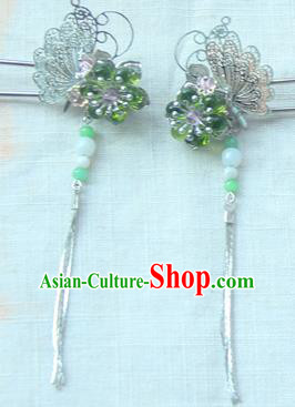 Traditional Handmade Chinese Ancient Princess Classical Hanfu Accessories Jewellery Green Glass Hair Sticks Hair Step Shake, Tassel Hair Fascinators Hairpins for Women