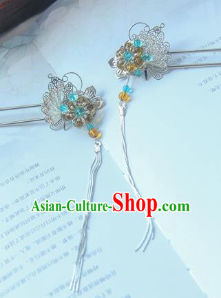Traditional Handmade Chinese Ancient Princess Classical Hanfu Accessories Jewellery Blue Butterfly Hair Sticks Hair Step Shake, Tassel Hair Fascinators Hairpins for Women