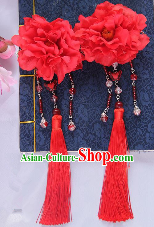 Traditional Handmade Chinese Ancient Princess Classical Hanfu Accessories Jewellery Red Silk Flowers Hair Sticks Hair Claws, Tassel Hair Fascinators Hairpins for Women