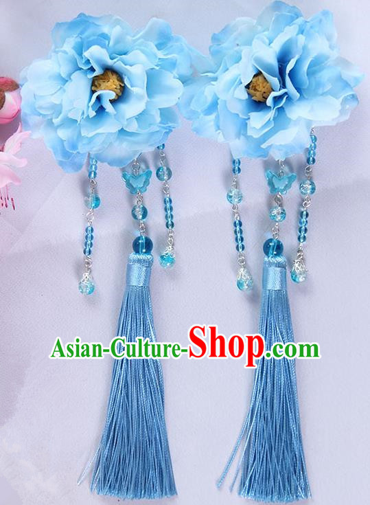 Traditional Handmade Chinese Ancient Princess Classical Hanfu Accessories Jewellery Blue Silk Flowers Hair Sticks Hair Claws, Tassel Hair Fascinators Hairpins for Women
