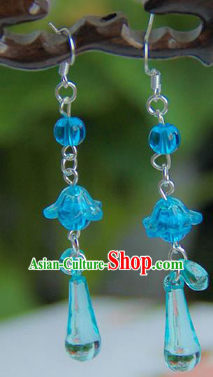 Traditional Handmade Chinese Ancient Princess Classical Hanfu Accessories Jewellery Blue Glass Earrings Eardrop for Women