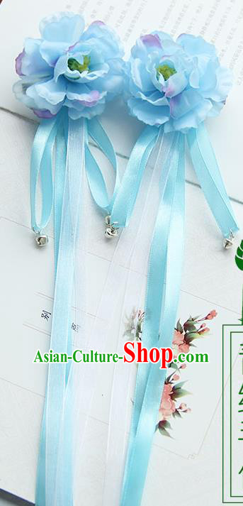 Traditional Handmade Chinese Ancient Princess Classical Hanfu Accessories Jewellery Long Ribbon Bells Silk Flowers Hair Sticks Hair Claws, Tassel Hair Fascinators Hairpins for Women