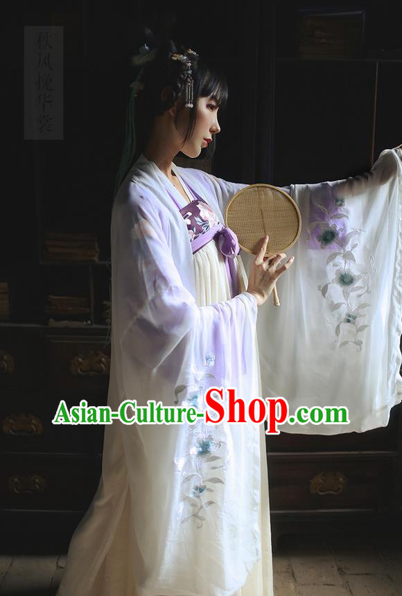 Traditional Ancient Chinese Female Costume Embroidered Wide Sleeve Cardigan, Elegant Hanfu Clothing Wearing Silks Chinese Ming Dynasty Embroidered Palace Princess Dress for Women