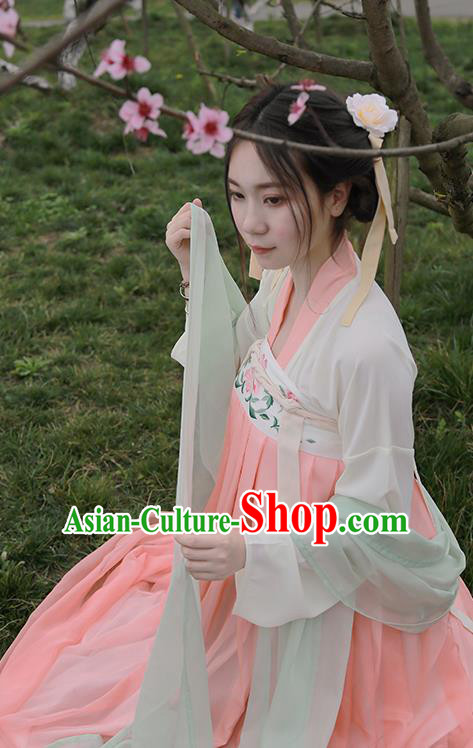 Traditional Ancient Chinese Female Costume Embroidered Two Pieces Blouse and Dress Complete Set, Elegant Hanfu Clothing Chinese Tang Dynasty Embroidered Palace Princess Dress for Women