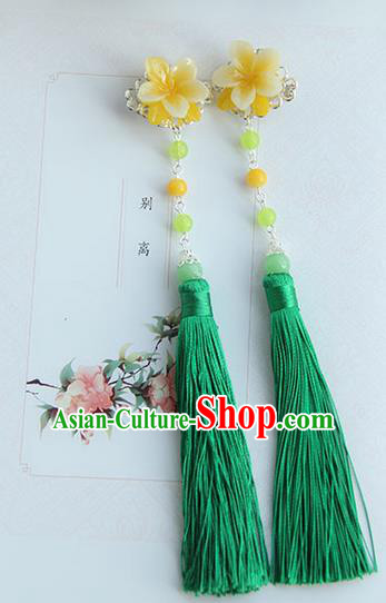Traditional Handmade Chinese Ancient Princess Classical Hanfu Accessories Jewellery Silk Flowers Green Tassel Hair Step Shake Hair Claws, Tassel Hair Fascinators Hairpins for Women