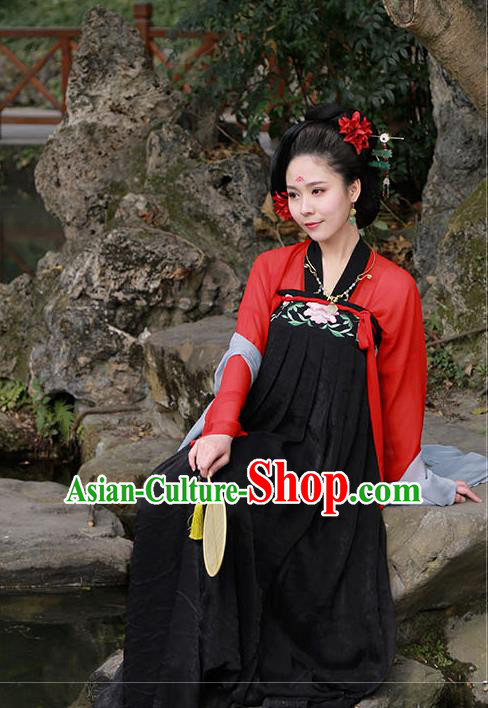 Traditional Ancient Chinese Imperial Consort Costume Embroidered Two Pieces Dress Complete Set, Elegant Hanfu Clothing Chinese Tang Dynasty Embroidered Peony Palace Princess Dress for Women