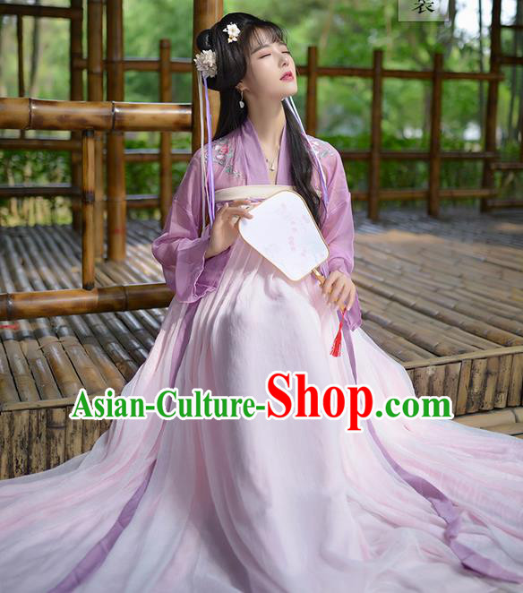 Traditional Ancient Chinese Female Costume Embroidered Flowers Dress Complete Set, Elegant Hanfu Clothing Chinese Tang Dynasty Embroidered Palace Princess Clothing for Women