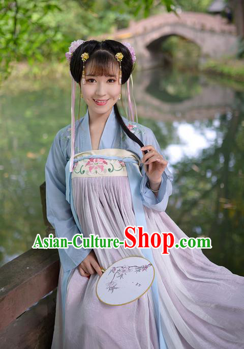Traditional Ancient Chinese Female Costume Embroidered Flowers Blue Blouse and Dress Complete Set, Elegant Hanfu Clothing Chinese Tang Dynasty Embroidered Palace Princess Clothing for Women